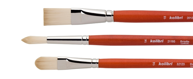 oil and acrylic brushes made of elastic synthetic bristles