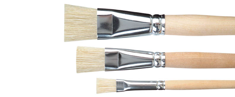 bristle brights made of white bristles, long unvarnished handles