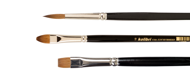 Red Sable brushes, flat, round and pointed, cat's tongue
