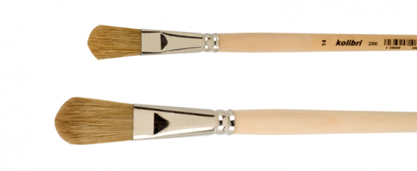 Fitch brushes flat, light bristles, tin ferrules and wooden handles