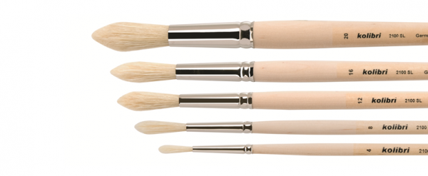 Fitch brushes round, extra long white bristles