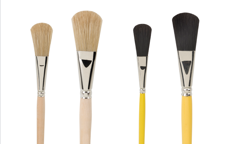 enamel brushes, made of light and black hog bristles, by kolibri