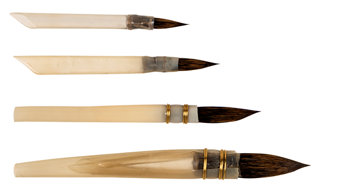 pointed squirrel hair brushes in natural quills