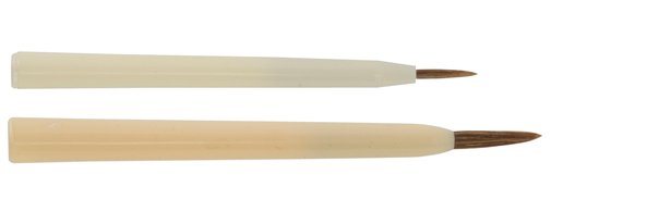 brushes for ceramic and porcelain painting made of light brown ox ear hair with fine tips