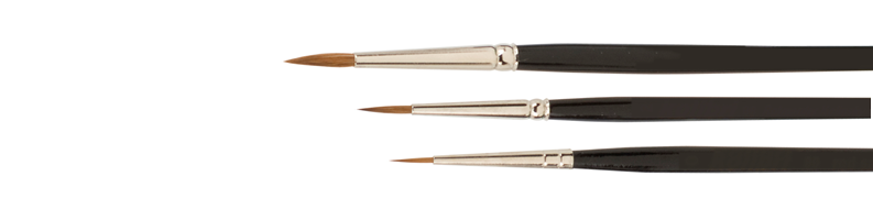 paint brushes of pure Red Sable hair from smallest size 10-0 up to size 24.