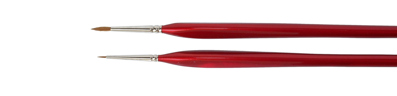 Miniature and detail brushes made of red sable hair and triangular wooden handles.