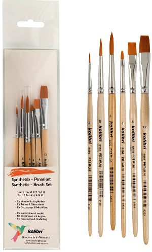 hobby and crraft brush kit of total 6 synthetic brushes.