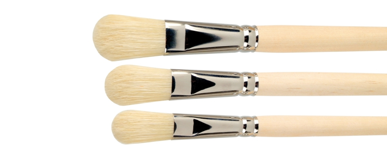 flat- oval oil paint bristle brushes
