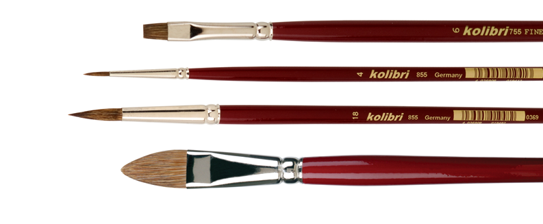 brushes for oil painters made of cuttle ear hair