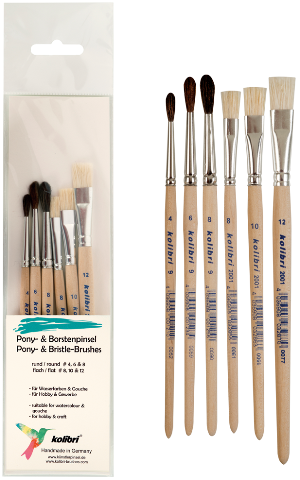 brush kit of pony hair brushes and bristle brushes suitable for school and hobby.