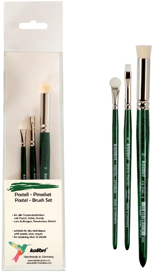 brush kit for applying, blurs and detail working with pastel, coal and crayon.