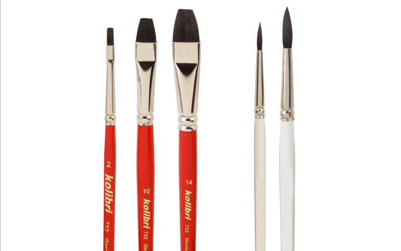 hobby paint brushes of black ox ear hair, round and flat