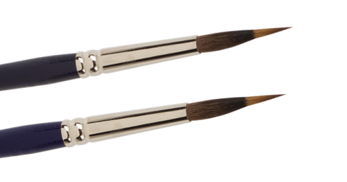 lining brushes with red Sable tip and suirrel cover