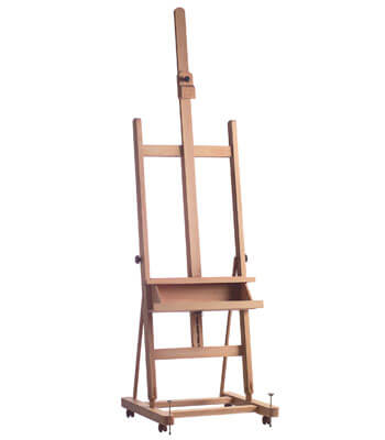 H-frame studio easel of European beech wood.