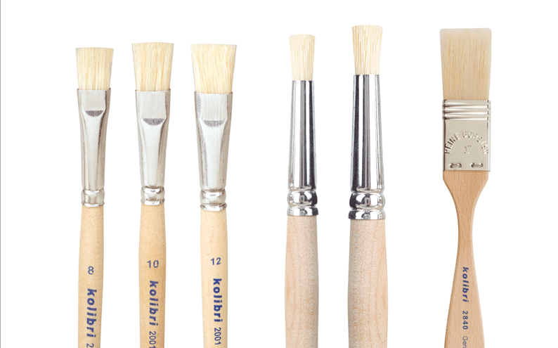 hog bristle brushes in different shapes, like flat brushes, round stencil brushes and wide bristle brushes