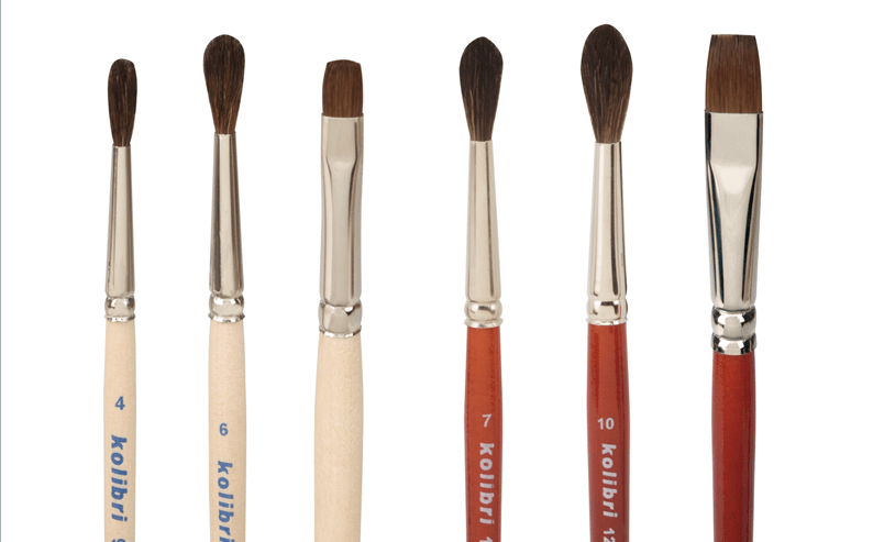camel hair brushes round and flat
