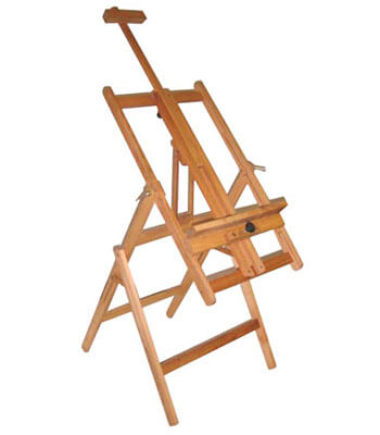 full size studio easel for painting in horizontal or vertical position..