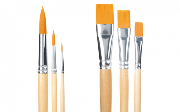 round and flat hobby and school synthetic paint brushes