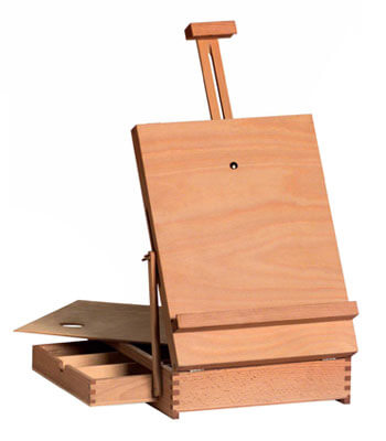 portable wooden box table easel.