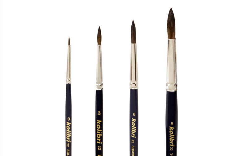 brushes for watercolorists of squirrel hair mixture